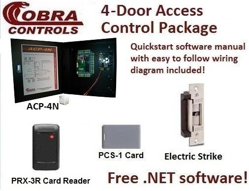 Cobra Controls ACP-4N (4-door) Door Access Control KIT: maglocks