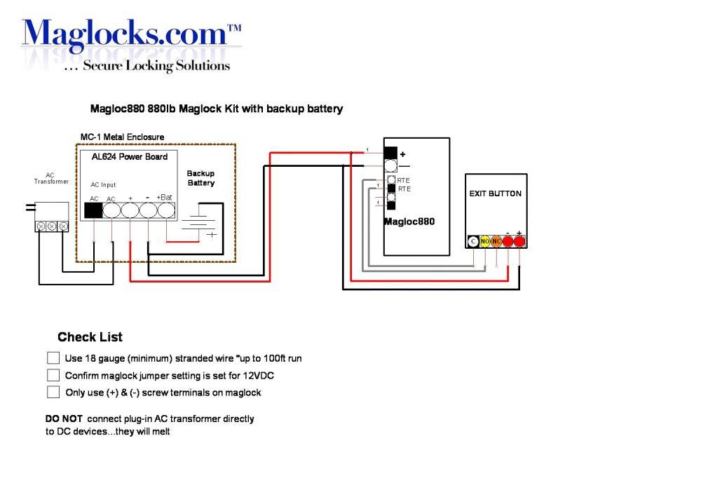 Magloc880 880lb Wireless Release Maglock Kit  Maglocks
