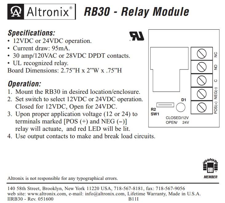 altronix relays wiring diagrams altronix rb30 relay module maglocks  altronix rb30 relay module maglocks